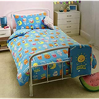 Asda Home Cotton Rich DUVET COVER BED SETS - Paisley Stripe Graphic Print From Toddler Junior Cot Bed to Super Kind Bed Size (Sunshine Smiles, Single)