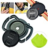 First2savvv JT0101 Universal 40.5mm /49mm / 62mm Camera Lens Cap Holder Buckle for Canon Nikon Sony Panasonic Fujifilm Olympus Pentax Sigma DSLR/SLR with LENS Cleaning Cloth
