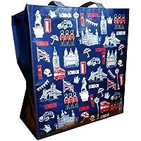 Borsa per la spesa, motivo: Londra, disegni di simboli tipici, souvenir, riutilizzabile, Ricordo di Londra, Da collezione e divertente, Borsa a
