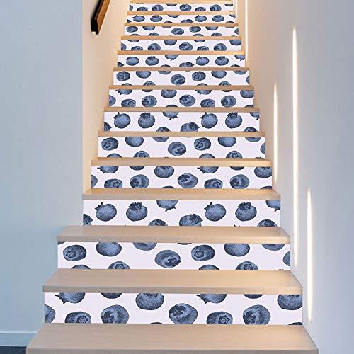 Wallpaper FANGQIAO SHOP 13 Stück Little Blueberry Nordic Kinderzimmer Dekoration Treppe Mode Kreative Schritt Dekoration Kunst Decor Wandtuch 18 * 100 cm (Schritt Handwerk Halloween-schritt Für)