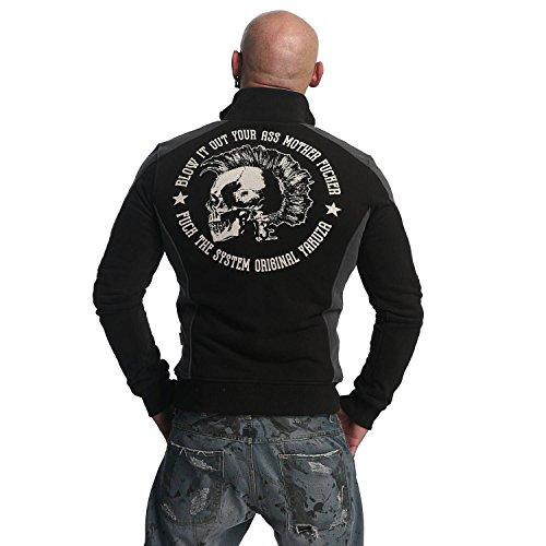 Yakuza Original Herren Punx Two Face Trainingsjacke Zipper Schwarz