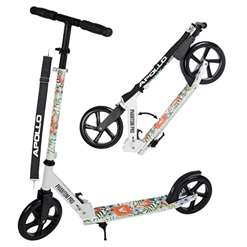 Apollo Big Wheel Scooter 200 mm - Phantom Pro Flamenco es un City Scooter de Lujo, City Roller Plegable y Ajustable en Altura, Kick Scooter para Adultos y Niños