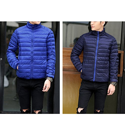 Linyuan Mode Mens Double-sided Wear Winter Lightweight Down Jacket Warm Outwear Jacket Blue & Dark Blue