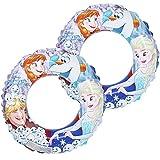 com-four 2X Pneumatico da Nuoto, Anello da Nuoto con Motivi di Anna, Elsa, Olaf e Kristoff del Film Disney La Regina del Ghiaccio, Ø 45 cm (02 Pezzi - Ø 45 cm Congelati)