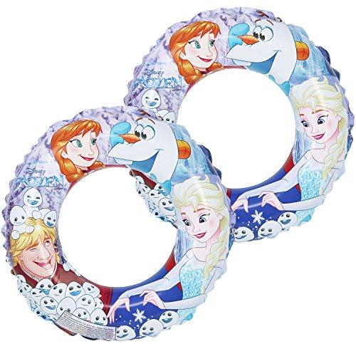 com-four® 2X Schwimmreifen, Schwimmring mit Motiven von Anna, ELSA, Olaf und Kristoff aus dem Disneyfilm Die Eiskönigin, Ø 45 cm (02 Stück - Ø 45 cm Die Eiskönigin)