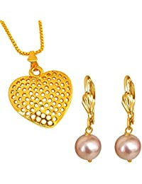 Surat Diamonds Heart Shaped Gold Plated Pendant And Pink Shell Pearl Floral Wire Earring Set For Women With 22...