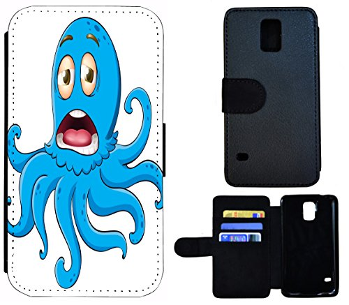 Flip Cover Schutz Hülle Handy Tasche Etui Case für (Apple iPhone 5 / 5s, 1452 Eifelturm Paris Frankreich Seine) 1453 Tintenfisch Octopus Cartoon Blau