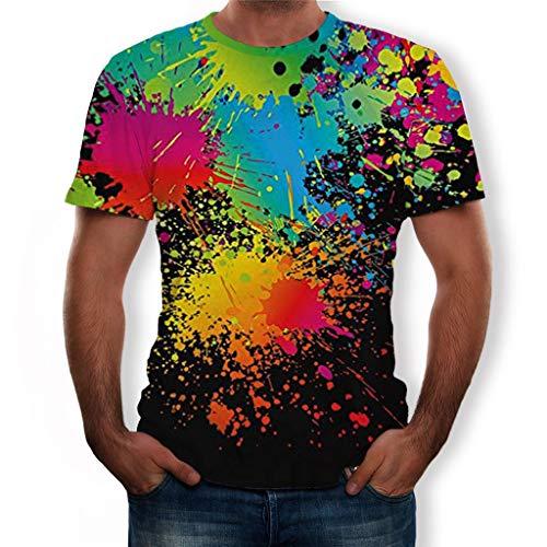 Tyoby Herren 3D Druckten Sommer-beiläufige Kurze Hülsen-T-Shirts T-Stücke Bequem Neon T-Shirt Mode Herrenbekleidung(Schwarz,L)