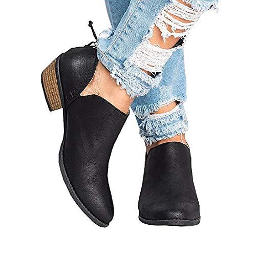 JOYTO Stiefeletten Damen Chelsea Leder Kurzschaft Stiefel mit Absatz Winter Boots 4 cm Blockabsatz Cut Out Flach Reißverschluss Elegant Bequem Schwarz 42
