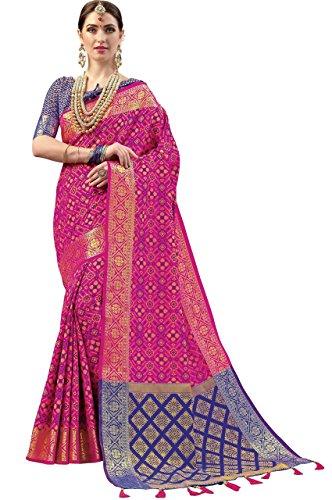 EthnicJunction Silk Cotton Saree With Blouse Piece(EJ1175-1005_Pink_Free Size)