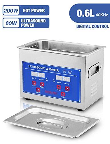 Jakan 0.6L Kapazität Ultraschall Reiniger Reinigungsgerät aus Edelstahl für Schmuck Haushaltswaren Brillen Reinigung (Tattoo-maschine-reiniger)