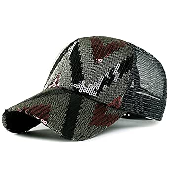 Chapeaux femmes/Summer Sun Sun Hat/Version coréenne de paillettes/ à la mode Cap/Casquette de baseball/Mesh respirant Cap-D réglable