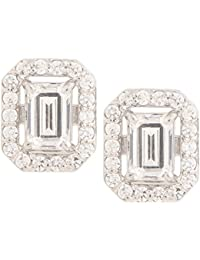 Somma 925 BIS HALLMARKED Silver Rhodium Plated Made With Swarovski Zirconia Earrings For Women
