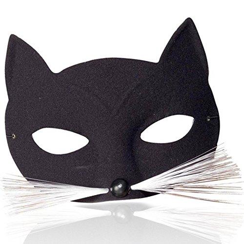 German Trendseller® - Katzen Visier ┃ Katze Schwarz ┃ Karneval (Katze Maske Und Schwanz)