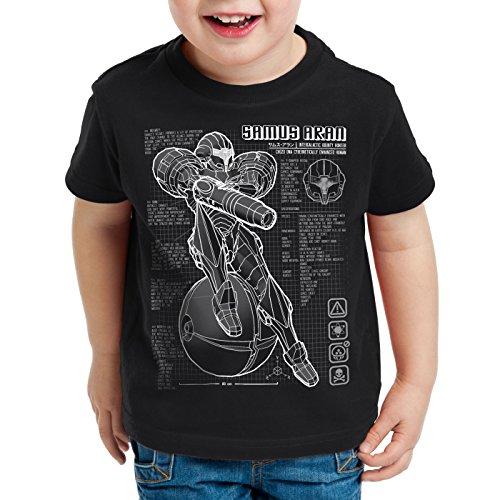 A.N.T. Samus Blaupause T-Shirt für Kinder metroid nerd gamer nes snes switch, Farbe:Schwarz;Größe:152