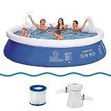 Jilong Prompt Set Pool Marin Blue 360 Set - Set Piscina Quick Up con Pompa Filtrante 360X76Cm