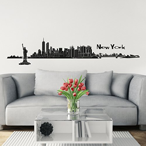 Preisvergleich Produktbild Wandkings Skyline Wandaufkleber Wandtattoo - 125 x 30 cm in schwarz - Deine Stadt wählbar - New York