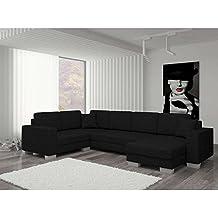 JUSThome Marco Sofá esquinero chaise longue Sofá de esquina función de Cama Sofá-Cama Tejido estructural (BxLxH): 145-206x303x86 cm Negro Brazo derecho