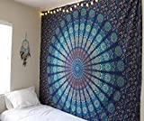 raajsee Indisch Psychedelic Wandteppich Mandala Blau/Elefant Boho Wandtuch Hippie/Mehrfarbige Boho Indischer Wandbehang Mandala Tuch Bohemien Größe 220x210 Cms