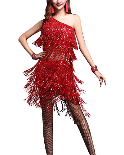 Damen Lateinischer Tanz Tango Wettbewerb Kostüme 2-Teiliges Pailletten Tops Und Röcke Rot M