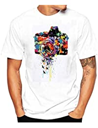Longra Ropa ★ Camiseta Hombre,Longra ★ Camiseta de Cráneo Hombre Militares Camisetas Deporte Ropa Deportiva Camisa de Manga Corta de Camuflaje Slim fit Casual Para Hombres Tops Blusa