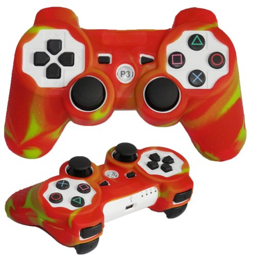 Skque?Silicone Soft Case Cover for Sony PlayStation 3 Controller, Red & Yellow