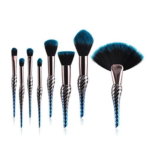 Lot de pinceaux de maquillage professionnel, Gujhui Make Up Ensemble brosse Poudre Bleu Noir Gradual Change en forme d'éventail Brosse douce cosmétiques Outil (8pcs)