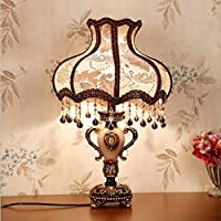 Agaidu Bedroom Bedside Lamp European Classical Decorative Resin Living Room Table Lamp Decorative Lamp E27 Red Cloth Lampshade [Energy Class A +]