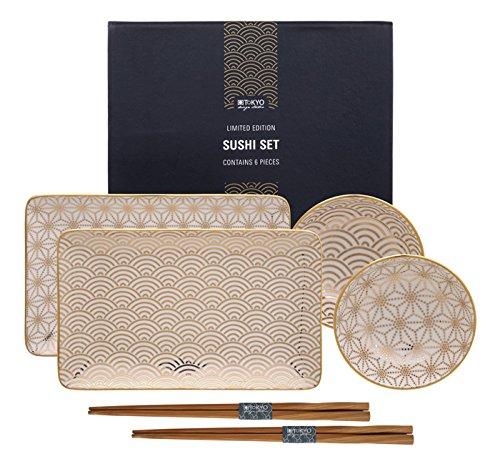TOKYO design studio Limited Edition Gold Plate Nippon Set6W/Chop Wave/21x 13,5Sterne und 9,5x 3 Gold Chop Plate