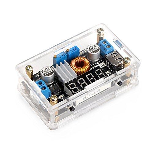 DROK® LM2596 DC Buck regulador de voltaje de 36V a 24V 12V 5V 3.3V 3V Convertidores Volt constante Amp 5-36V a 1.25-32V 5A 75W Paso abajo LED del interruptor del controlador de alimentación LED voltímetro digital USB de salida