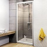 Schulte Duschkabine Drehtür Nische Vita, 69-81x185 cm, 5 mm Sicherheits-Glas klar, weiß, ausziehbare Duschtür