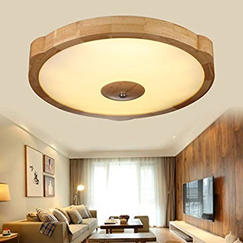 yxhflo Modern and minimalist solid wood lamps living room lamp lights bedroom round led ceiling light Nordic Day-oak wood logs Deckenleuchten,70cm warm