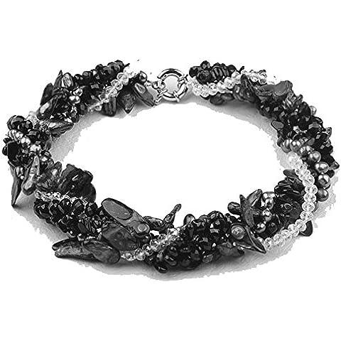 TreasureBay - Favolosa collana in filo grosso attorcigliato, a 5 giri, con perle nere a forma di denti, perline brillanti bianche e gemme di agata nera, per donna, 48 cm - Collana Agata Nera Di Cristallo
