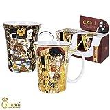 CARMANI - Porzellan-Becher mit 'Erwartung' und 'Der Kuss' von Gustav Klimt dekoriert 300ml, 2 Stück