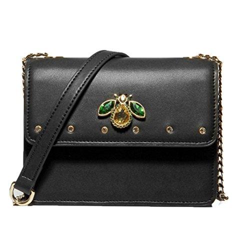 LWJH Trendy Wild Handtaschen Neu Umhängetasche Messenger Bag Kleine Quadratische Tasche Einfarbig Persönlichkeit Damen Tasche,Black-OneSize