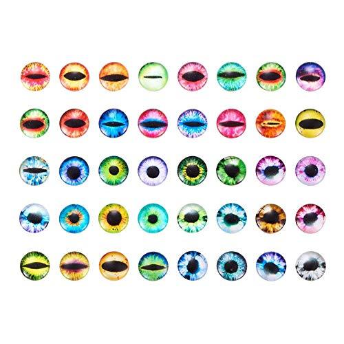 PandaHall 200 Stück Auge Gedruckt Halbrund Kuppel Glascabochons Gemischte Farbe Größe 10x4mm