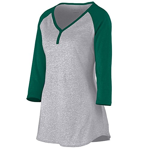 Augusta Sportswear Women'S Rave Henley Xs Athletic Heather/Dark Green Augusta Sportswear Henley