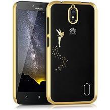 kwmobile Elegante y ligera funda Crystal Case Diseño hada para Huawei Y625 en oro transparente