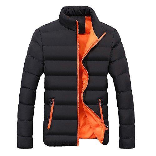 Xmiral Herren Jacke Mantel Warm Slim Fit Dicke Blase Lässige Parka Oberbekleidung (L,Orange)
