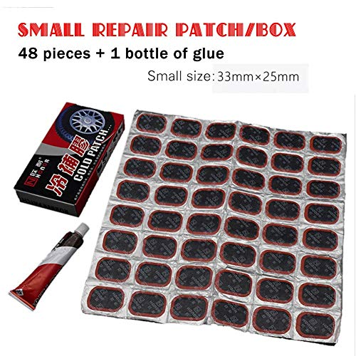 d Motor Bike Reifen Gummiflecken Repair Tools Kits Elektroauto/Motorrad-Reifenreparaturset, 48 Reifenreparaturfolien + 1Kleber Greater ()