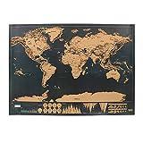 NNMNBV 1 pièce Édition Deluxe Carte du Monde à gratter Décoration de la Maison Journal de Voyage gommé Noir