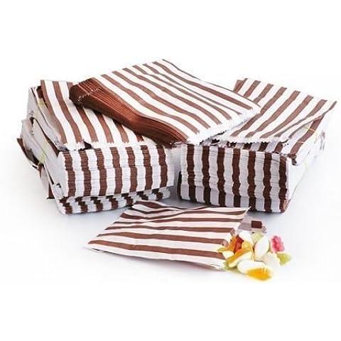 sacchetti di carta a righe porta-confetti Buffet regalo negozio partito caramelle torta nuziale 9colori Designs UK venditore stesso giorno spedizione, Brown, 1 Sample Bag - Partita Busta