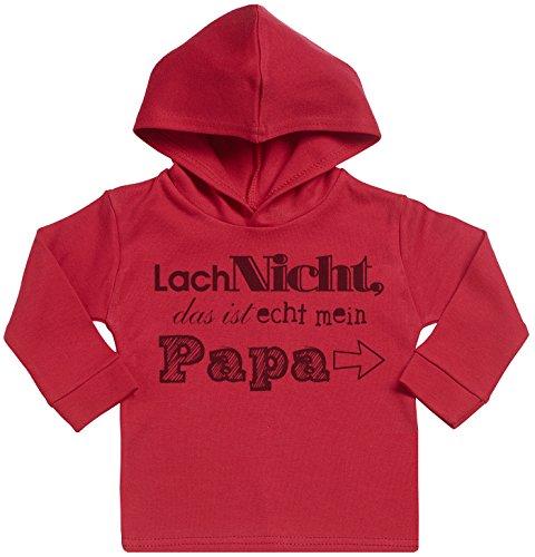 SR - Lach Nicht das ist echt mein Papa Baby Weicher Kapuzenpully Pullover - 3-6 Monate Rot