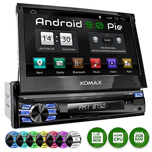 "XOMAX XM-VA707 Autoradio mit Android 9.0 I 2GB + 32GB I GPS Navigation I Bluetooth I Support: WiFi, 3G, 4G, DAB+, OBD2 I 7\"" / 18 cm Touchscreen I USB, SD I 1 DIN"