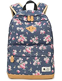 124db0e488 Mochila Escolar Mochila de Viaje de Moda Mochila de Lona Estampada de  Flores para Adolescente Muchacha