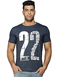 Perroni Men's Basic Cotton Blend Material Round Neck Half Sleeve Printed Smart Fit TShirt For Summer