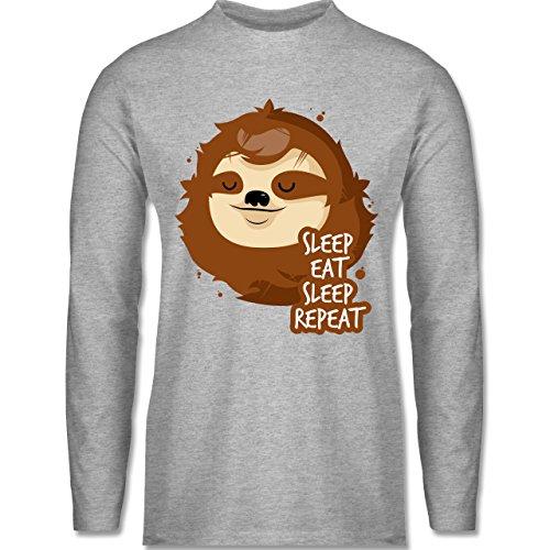 Shirtracer Comic Shirts - Sleep, Eat, Sleep, Repeat - Faultier - Herren  Langarmshirt