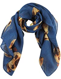 Blue Pugs Dog Print Wide Scarf