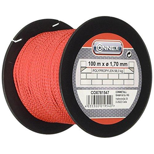 Connex COX781547 - Cordel guía de albañil (1,7 mm, 100 m, peso soportado 60 kg máx.), color rojo