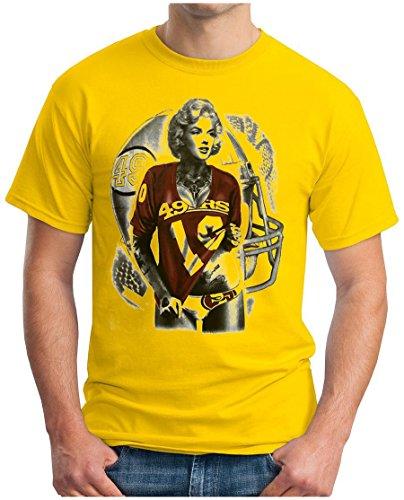 OM3 - Marilyn Monroe - 49ers - T-Shirt San Francisco American Football Hollywood Star Legend LA NY USA, XL, Gelb (Bay Back Gelb)
